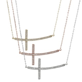 Tressa Sterling Silver Cubic Zirconia Sideways Curved Cross Necklace
