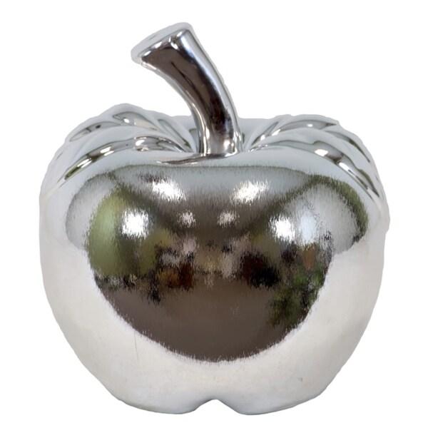 Small Silvertone Ceramic Apple