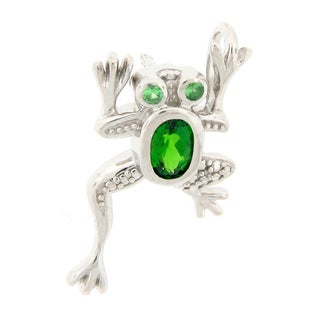 Meredith Leigh Sterling Silver Chrome Diopside and Tsavorite Frog Pin