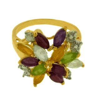 Dolce Giavonna Gold over Silver Multi-gemstone and Diamond Accent Ring