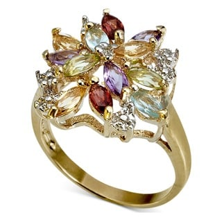 Dolce Giavonna Gold over Silver Multi-gemstone and Diamond Accent Ring with Red Bow Gift Box