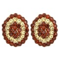 Kate Marie Goldtone Rhinestone Antique Oval Design Fashion Earrings