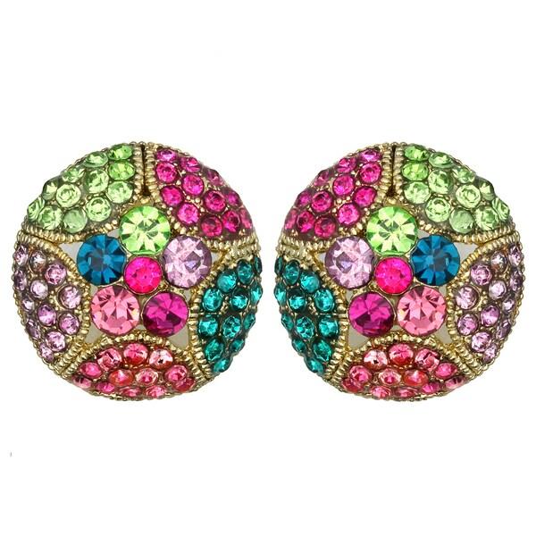 Kate Marie Goldtone Rhinestone Plum Flower Design Fashion Earrings