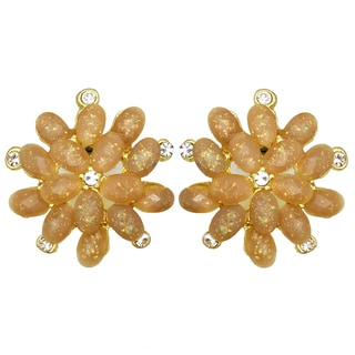 Kate Marie Goldtone Rhinestone Floral Oval Design Fashion Earrings