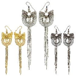 Kate Marie Rhinestone Mesh Bow Tassel Design Fashion Earrings
