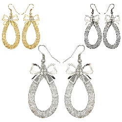 Kate Marie Rhinestone Curled Leaf Design Fashion Earrings