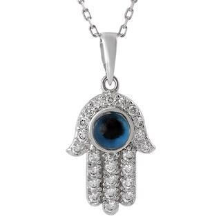 Tressa Sterling Silver Cubic Zirconia Hamsa Hand Necklace