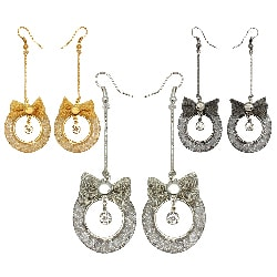 Kate Marie Rhinestone Mesh Bow Ring Design Fashion Earrings