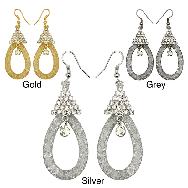 Kate Marie Rhinestone Honeycomb Oval Design Fashion Earrings