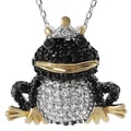 Tressa Sterling Silver Two-tone Cubic Zirconia Crowned Frog Necklace
