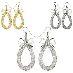 Kate Marie Rhinestone Butterfly Oval Design Fashion Earrings