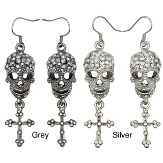 Kate Marie Rhinestone Cross and Skull Design Fashion Earrings