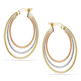 Miadora 10k Tri-color Gold Hoop Earrings