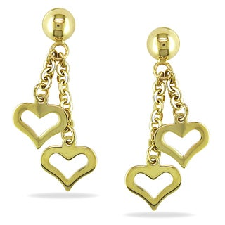 Miadora 10k Yellow Gold Dangle Heart Earrings
