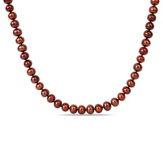 Miadora Brown Cultured Freshwater Pearl Endless Necklace (8-9 mm)