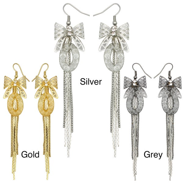 Kate Marie Rhinestone Ribbon Tassel Design Fashion Earrings
