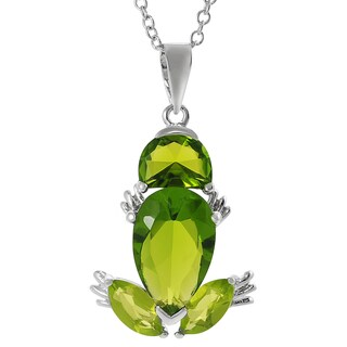 Tressa Sterling Silver Green Cubic Zirconia Frog Necklace