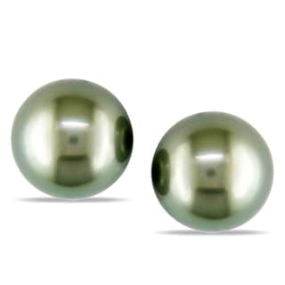Miadora 14k White Gold Tahitian Pearl Stud Earrings (9-10 mm)