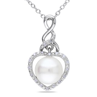 Miadora Sterling Silver Pearl and Diamond Accent Heart Necklace (8-8.5 mm)