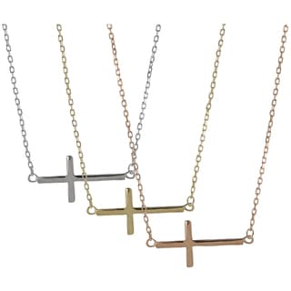 Tressa Sterling Silver Sideways Holy Cross Necklace