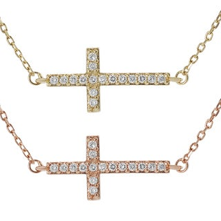 Tressa Silver Rose Gold-plated Cubic Zirconia Sideways Cross Necklace