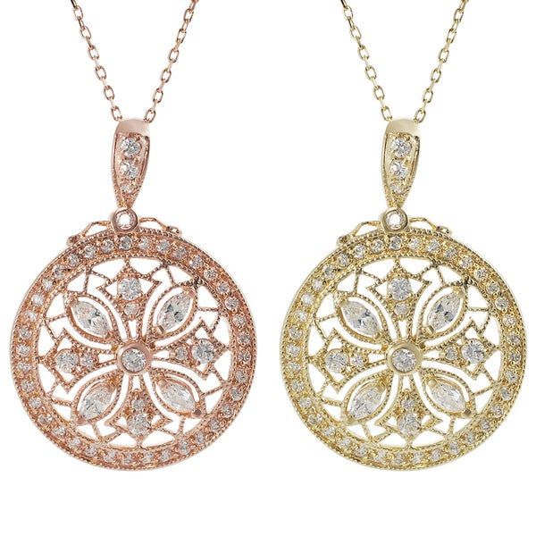 Tressa Rose Gold-plated Silver Cubic Zirconia Vintage Disc Necklace
