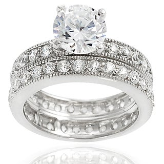 Tressa Sterling Silver White Round Cubic Zirconia Bridal-style Ring Set