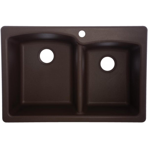 Mocha EODB33229-1 Double-Basin Composite Granite Kitchen Sink