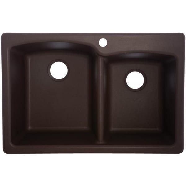 ... 50/50 Double Bowl Granite Composite Undermount Kitchen Sink in Sand