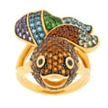 Meredith Leigh Gold over Silver Multi-gemstone Fish Ring