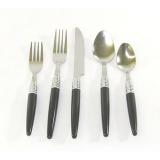 Bellamo Modern Spiral 20-piece Casual Black Flatware Set
