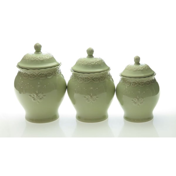 certified international adeline green 3 piece canister