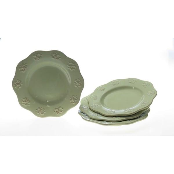 Certified International 'Adeline Green' Dinner Plates (Set of 4)