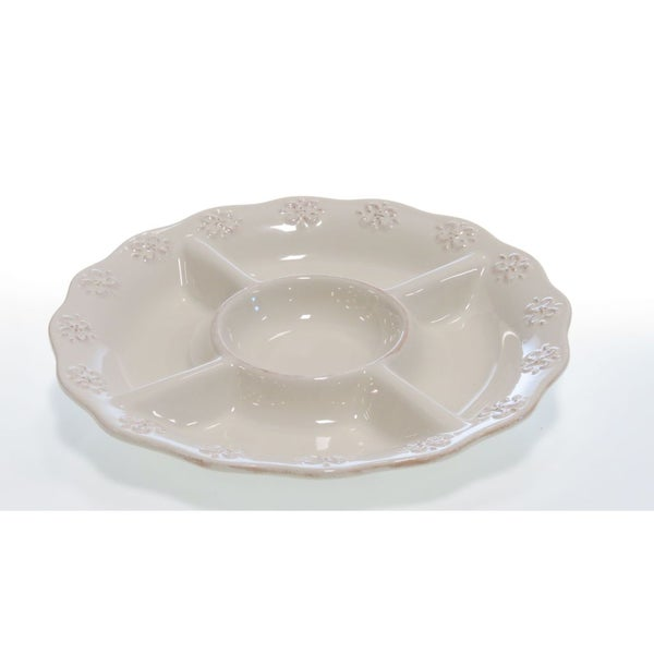 Certified International Adeline Ivory 5-Section Chip & Dip Plate