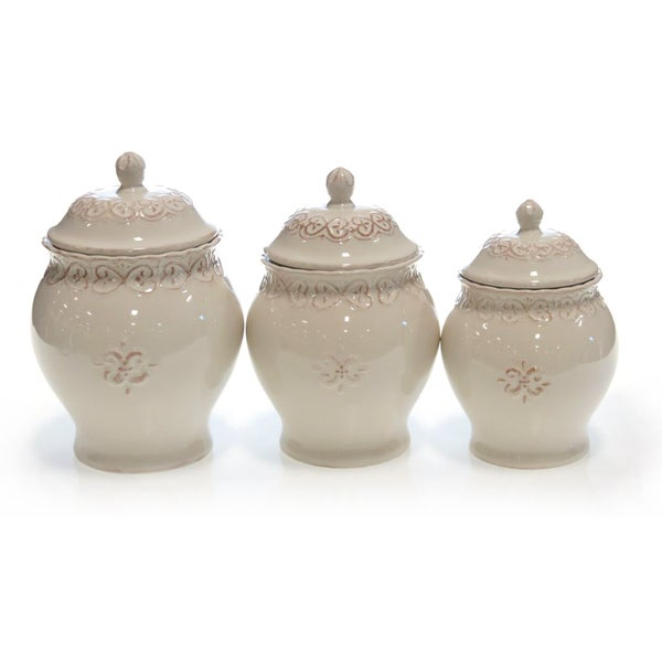 Certified International Adeline Ivory Canister Set