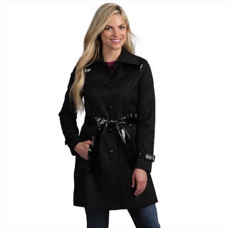 Via Spiga Women&#39;s Black Mixed Media Trench Coat