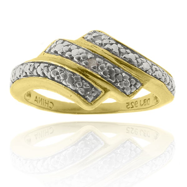 Finesque 18k Yellow Gold over Silver Diamond Accent Ring