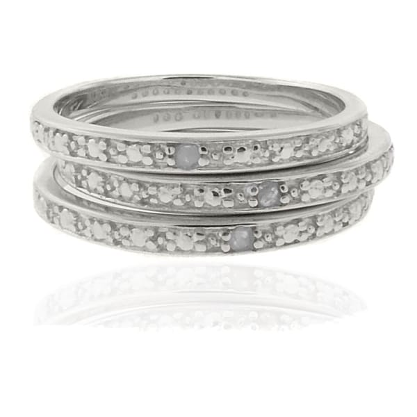 Finesque Sterling Silver Diamond Accent 3-piece Stackable Ring Set