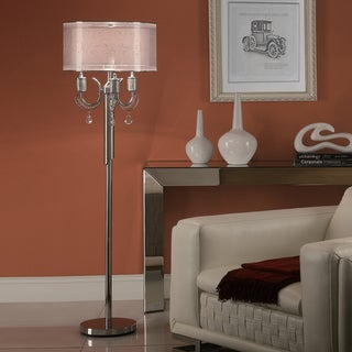 TRIBECCA HOME Alonza Chrome Crystal Floor Lamp