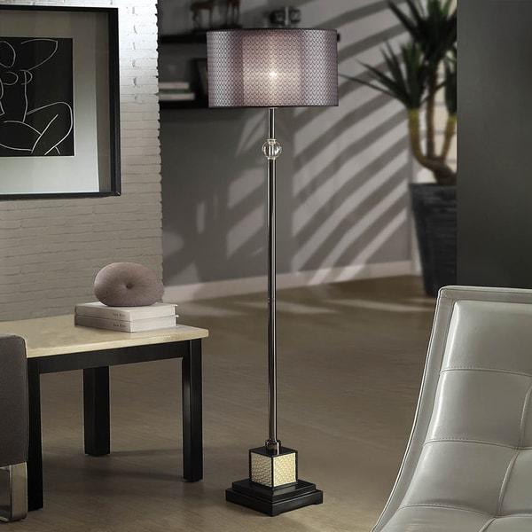 TRIBECCA HOME Lacey Black Chrome Floor Lamp