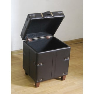 Brown Leather Trunk Side Table Storage Ottoman