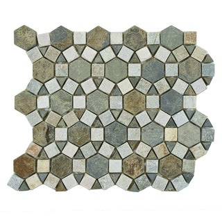 SomerTile 10.25x11.25-in Ridge Aztec Multi Sunset Stone Mosaic Tile (Pack of 5)
