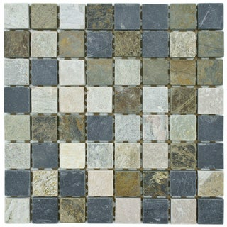SomerTile 11.75x11.75-in Ridge Square Multi Grey Stone Mosaic Tile (Pack of 5)