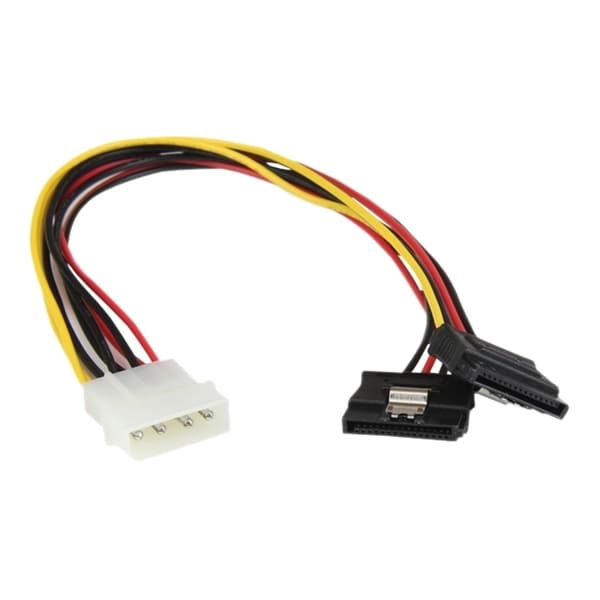 StarTech.com 12in LP4 to 2x Latching SATA Power Y Cable Splitter Adap
