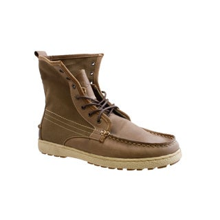 GBX Men's Khaki Leather and Canvas Lace-up Boots