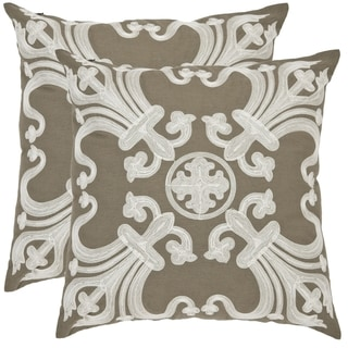 Safavieh Colette 18-inch Olive Green Decorative Pillows (Set of 2)