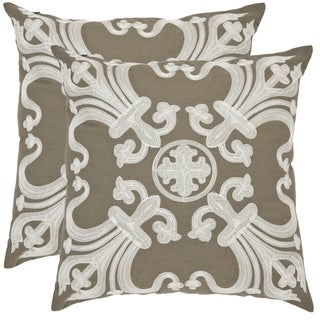 Safavieh Colette 22-inch Olive Green Decorative Pillows (Set of 2)