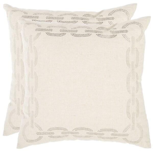Safavieh Sibine 18-inch Ivory Decorative Pillows (Set of 2)