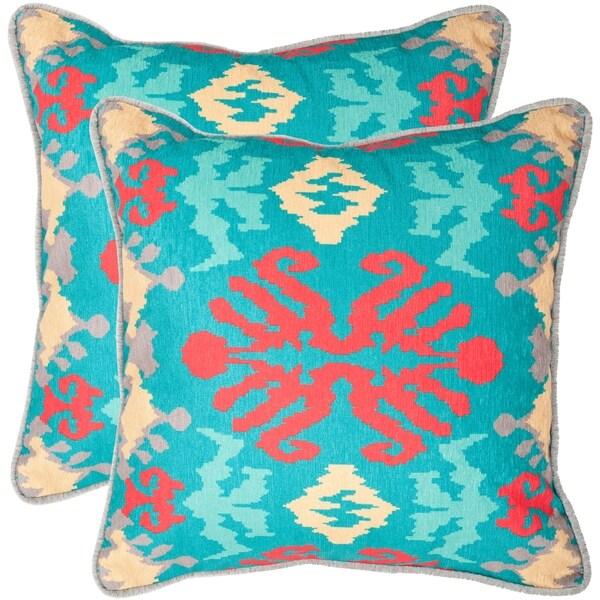 Safavieh Rye 22-inch Aqua Blue Decorative Pillows (Set of 2)
