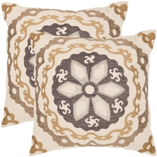 Thea 22-inch Taupe/ Gold Decorative Pillows (Set of 2)